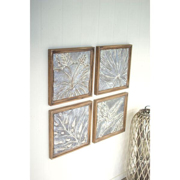 Multi-Colored Framed Tropical Pressed Metal Tile Wall Art, Set of 4, image 1