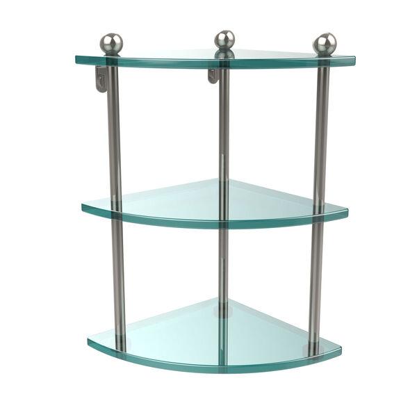 Polished Nickel Triple Glass Corner Shelf, image 1