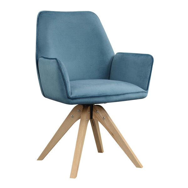Miranda Velvet Blue Natural Wood Accent Chair, image 3