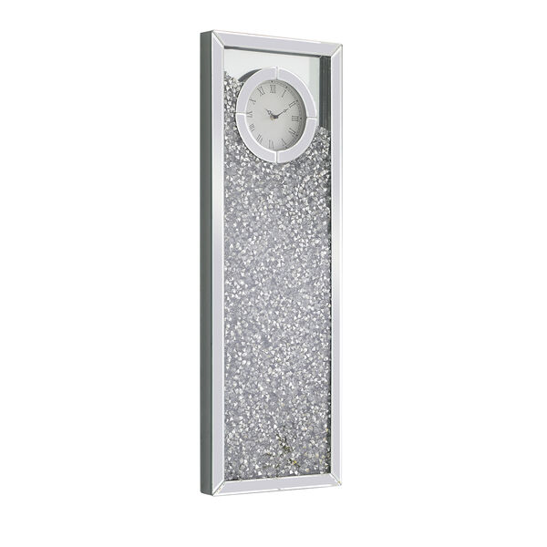 Modern Mirrored 35-Inch Crystal Wall Clock, image 4