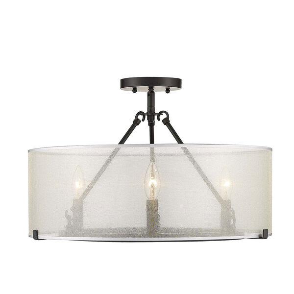 Alyssa Matte Black 20-Inch Three-Light Semi-Flush Mount With Sterling Mist Shade, image 1