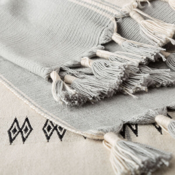 Nagaland Sekrenyi Tribal Cream and Taupe Hand-Loomed Throw, image 2