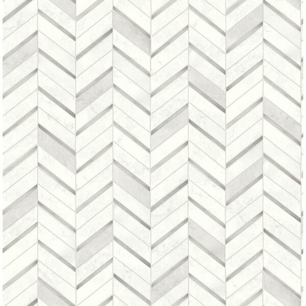 NextWall Gray Chevron Marble Tile Peel and Stick Wallpaper, image 2