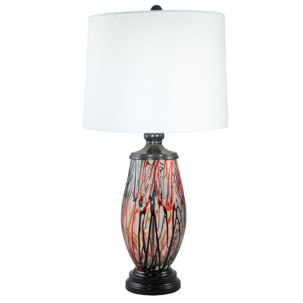 Halen Ebony Black and White One-Light Painted Crystal Table Lamp, image 1
