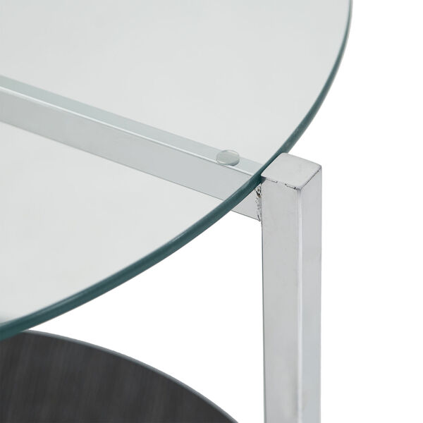 Alexia Chrome End Table with Glass Top, image 4