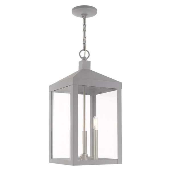 Nyack Nordic Gray 11-Inch Three-Light Pendant Lantern, image 1