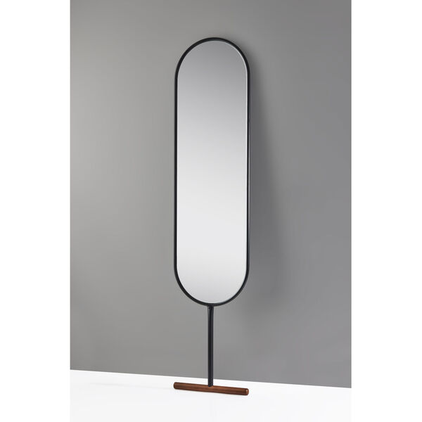 Willy Black and Walnut wood base Leaning Mirror, image 2