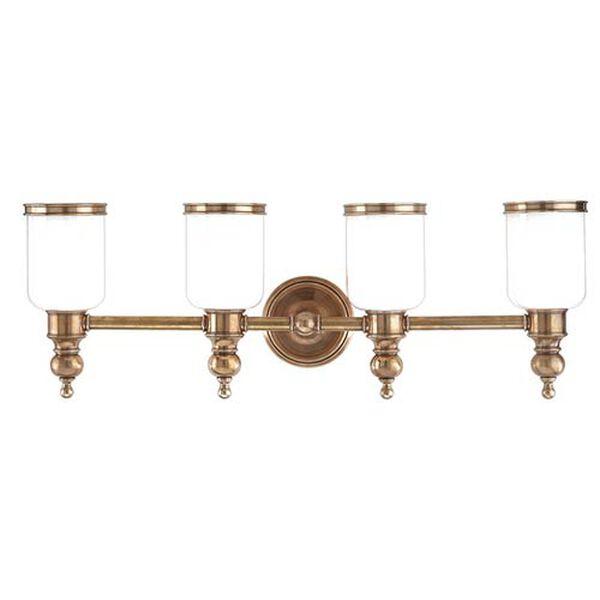 Chatham Aged Brass Four-Light Bath Fixture, image 1