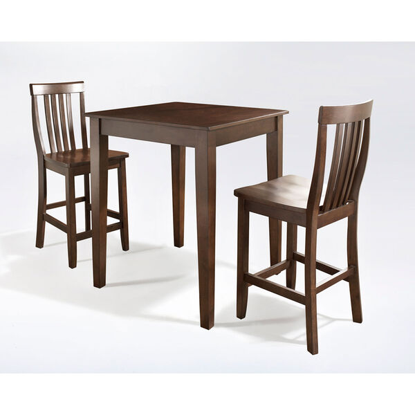 Three Piece Pub Dining Set with Tapered Leg and School House Stools in Vintage Mahogany Finish, image 1
