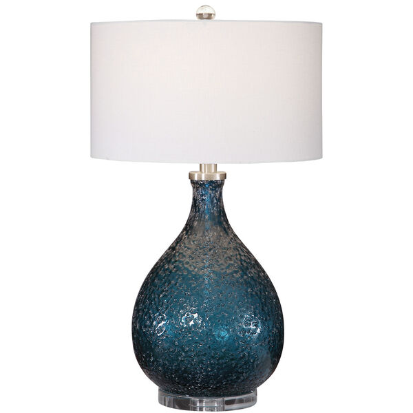 Eline Brushed Nickel and Blue Glass Table Lamp, image 1