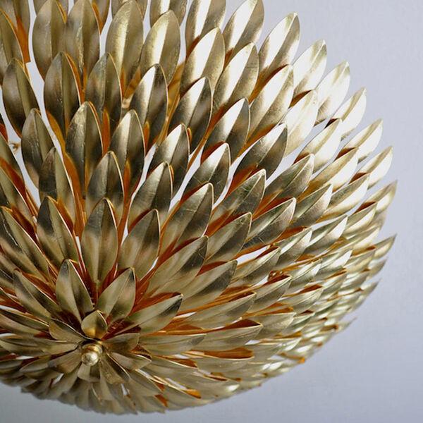 Broche Antique Gold Six-Light Gold Leaf Pendant Chandelier, image 8