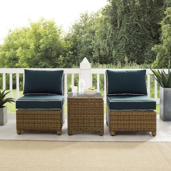 Bradenton Navy Weathered Brown Three-Piece Outdoor Wicker Chair Set, image 2