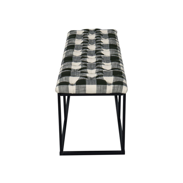 Black and White 52-Inch Hardwood and Plywood Bench, image 5