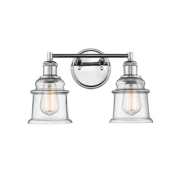 Chrome Two-Light Vanity with Clear Glass, image 1