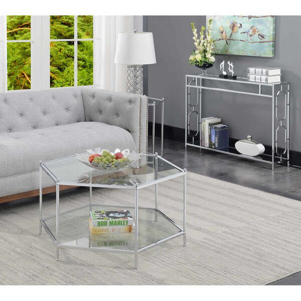Royal Crest Clear Glass Chrome Frame Hexagonal Chrome Coffee Table, image 2
