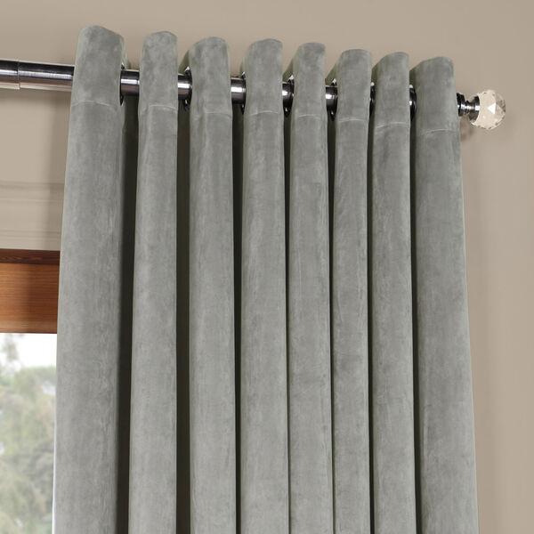 Silver Grey 96 x 100 In. Double Wide Grommet Blackout Velvet Curtain Single Panel, image 2