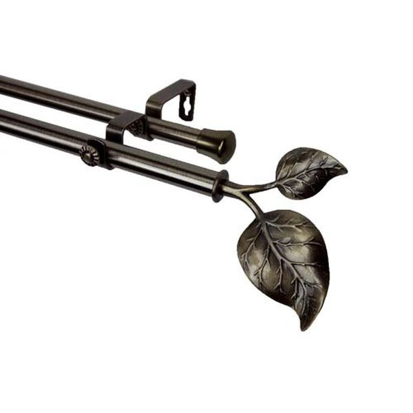Ivy Antique Brass 48 to 84 Inch Double Curtain Rod, image 1