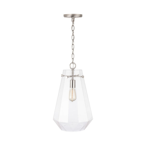 One-Light Pendant with Clear Prismatic Glass, image 4