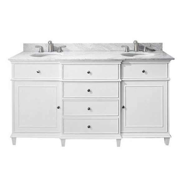 Windsor 60-Inch White Vanity with Carrera White Marble top and Dual Undermount Sinks, image 1