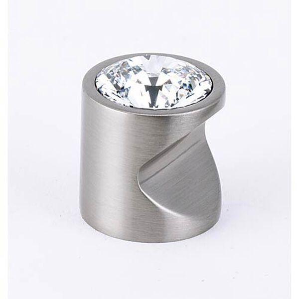 Contemporary Satin Nickel 1-Inch Large Crystal Knob, image 1
