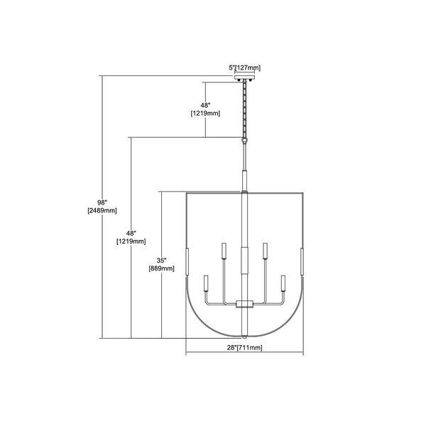 Heathrow Matte Black and Satin Brass 10-Light Chandelier, image 2