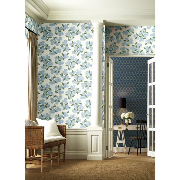 Rifle Paper Co. Blue and White Hydrangea Wallpaper, image 1
