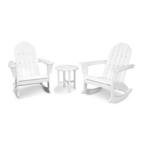 Vineyard White Adirondack Rocking Chair Set, 3-Piece, image 1