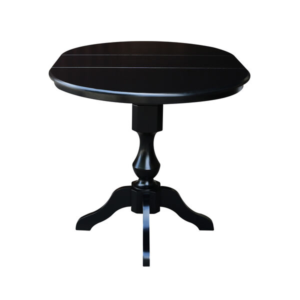 Black 36-Inch Curved Pedestal Counter Height Table with 12-Inch Leaf, image 5