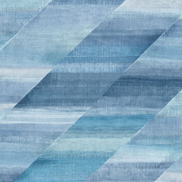 Boho Rhapsody Washed Denim and Cerulean Rainbow Diagonals Unpasted Wallpaper, image 2
