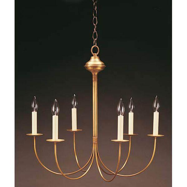 Antique Brass Six-Light, J-Arm Chandelier, image 1