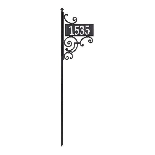 Nite Bright Black White Ironwork Reflective Address Post Sign, image 2