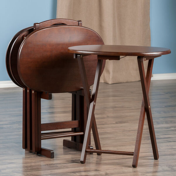 Nathan Cappuccino Five-Piece Snack Table Set, image 3