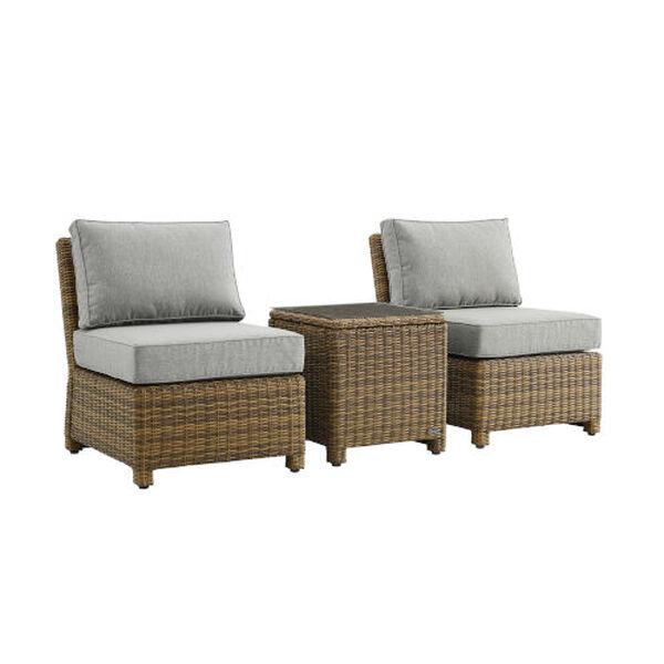 Bradenton Gray Weathered Brown Three-Piece Outdoor Wicker Chair Set, image 3