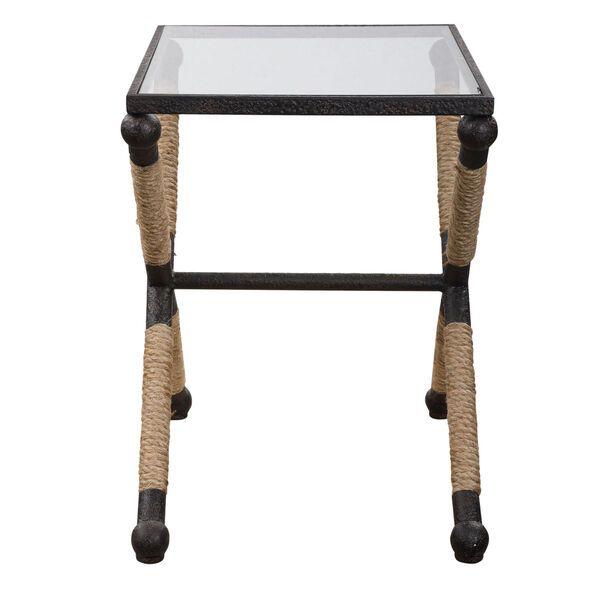 Braddock Black, Brown and Clear 16-Inch Coastal Accent Table, image 4