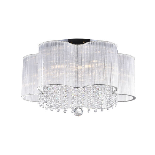 Spring Morning Chrome Seven-Light Drum Shade Flush Mount with K9 Clear Crystals, image 1