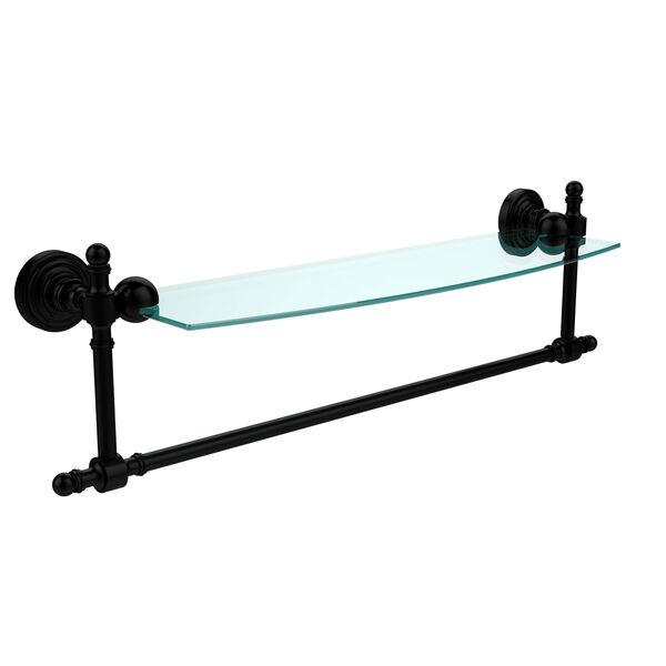Retro Wave Matte Black 18 Inch Glass Shelf w/ Towel Bar, image 1