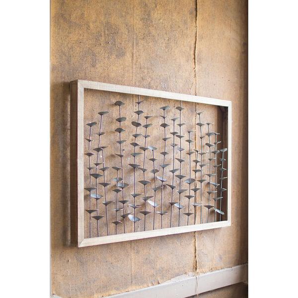 Wood Framed Metal Leaves Wall Hanging, image 1