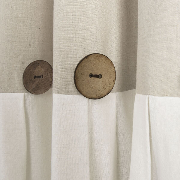 Linen Button Beige and Off White 40 x 108 In. Single Window Curtain Panel, image 2