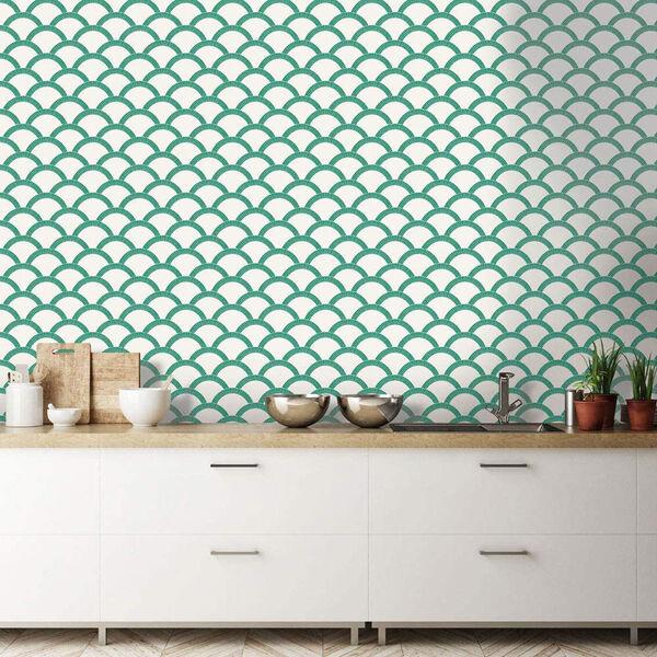 Mosaic Scallop Emerald 28 Sq. Ft. Peel and Stick Wallpaper, image 4
