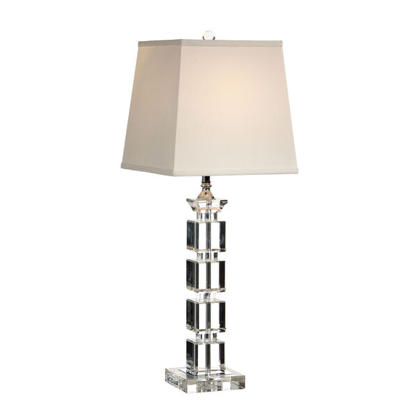 Silver One-Light 7-Inch Blocks in Crystal Lamp, image 1