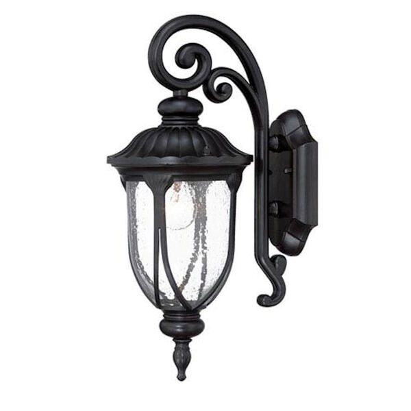 Laurens Matte Black 7-Inch One-Light Outdoor Wall Mount with Clear Seeded Glass, image 1