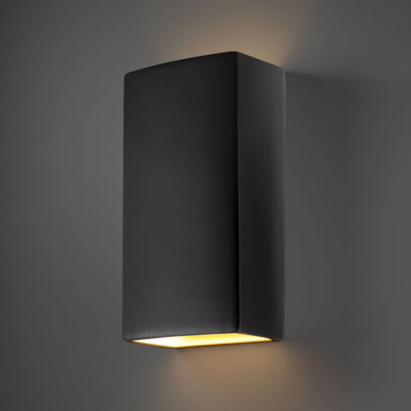 Ambiance Carbon Matte Black 11-Inch Two-Light Closed Top and Bottom GU24 LED Rectangle Outdoor Wall Sconce, image 2