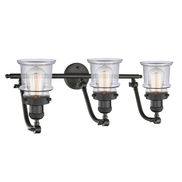 Franklin Restoration Oil Rubbed Bronze 28-Inch Three-Light LED Bath Vanity with Clear Glass Shade, image 2