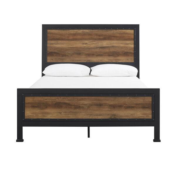 Queen Size Industrial Wood and Metal Bed - Rustic Oak, image 9