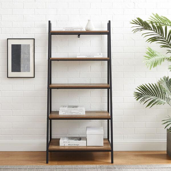 Arlo Reclaimed Barnwood Five Shelf Ladder Bookshelf, image 3