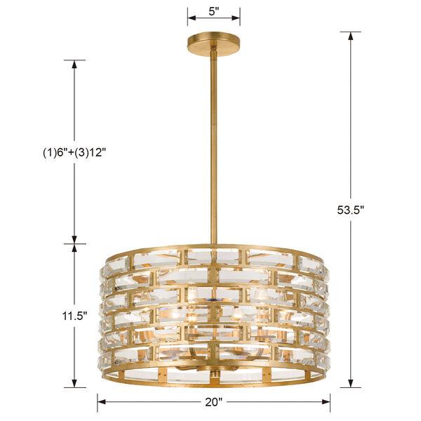 Meridian Six-Light Antique Gold Chandelier, image 4