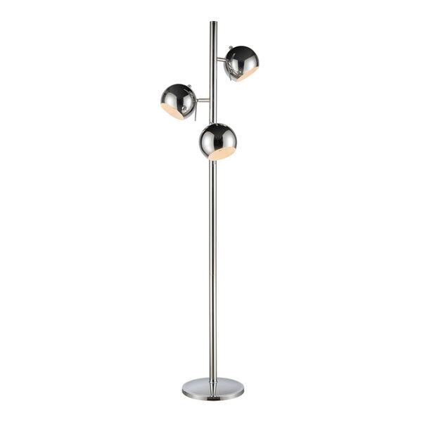 Meri Silver Chrome Three-Light Floor Lamp, image 1
