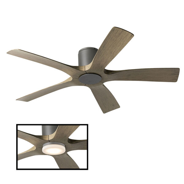 Aviator Graphite and Weathered Gray 54-Inch ADA LED Flush Mount Ceiling Fan, image 3