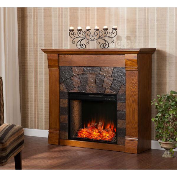 Ellkmont Salem Antique Oak Faux Stone Smart Electric Fireplace, image 1