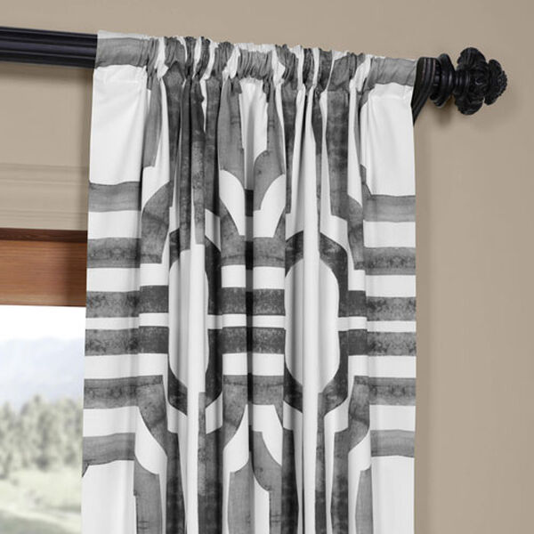 Shiny Steel 96 x 50 In. Printed Cotton Twill Curtain Single Panel, image 3
